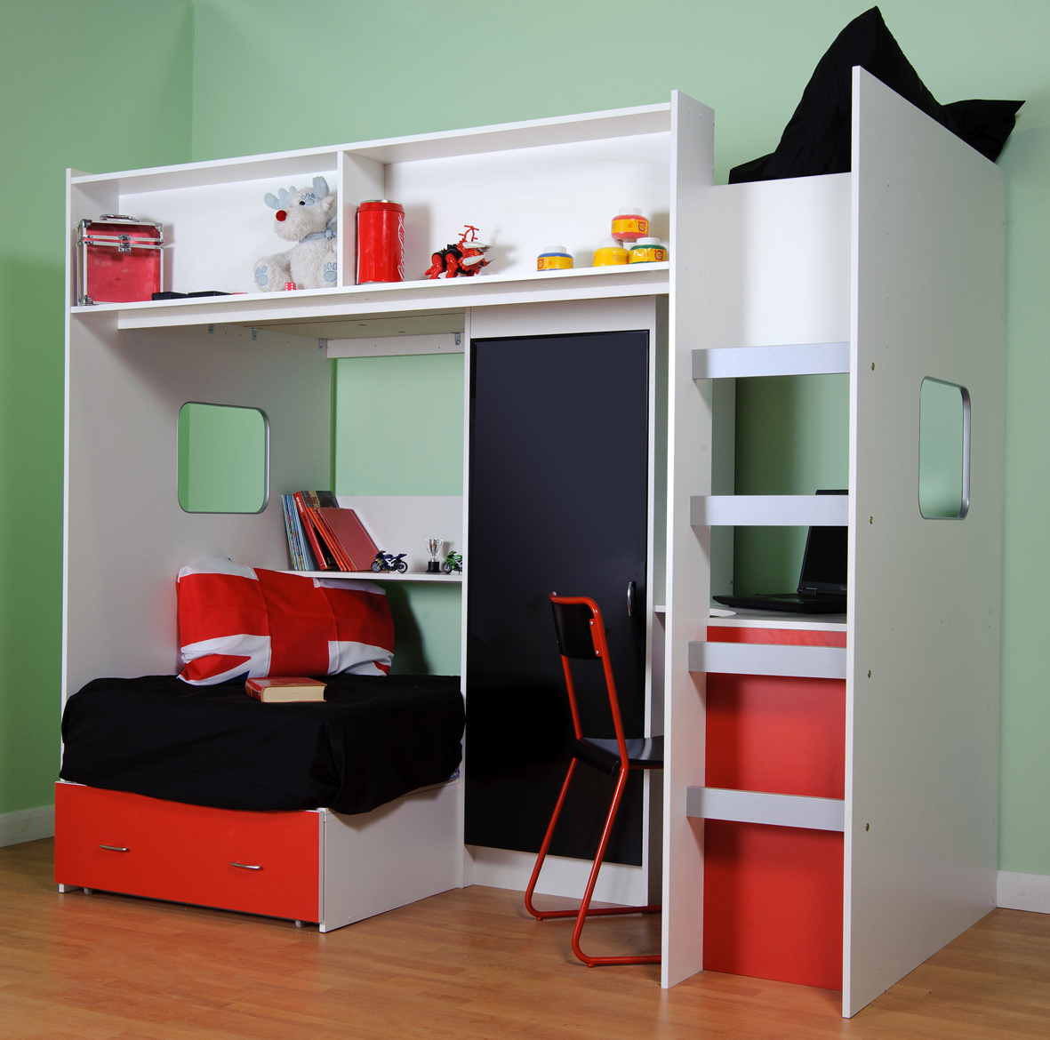 Small Box Room Cabin Bed: Delux High Sleeper Bed